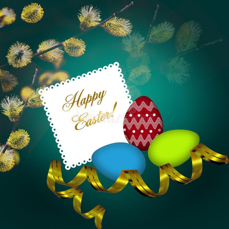 Tarjeta de felicitación de Pascua con los huevos coloridos ilustración del vector