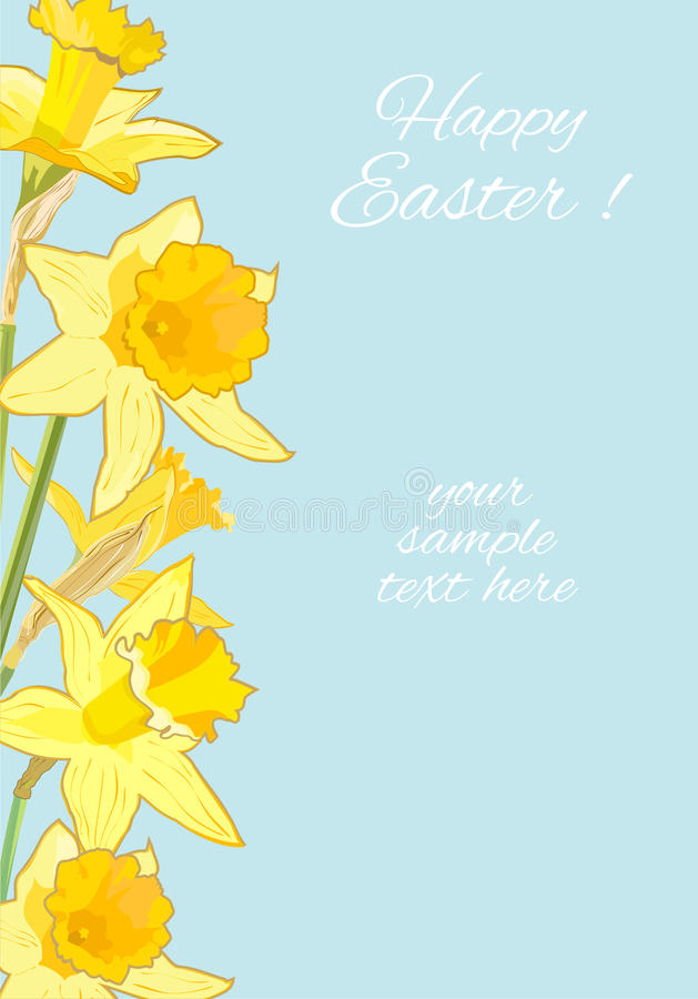 Tarjeta de felicitación de Pascua con los narcisos Ejemplo con el espacio para el texto libre illustration