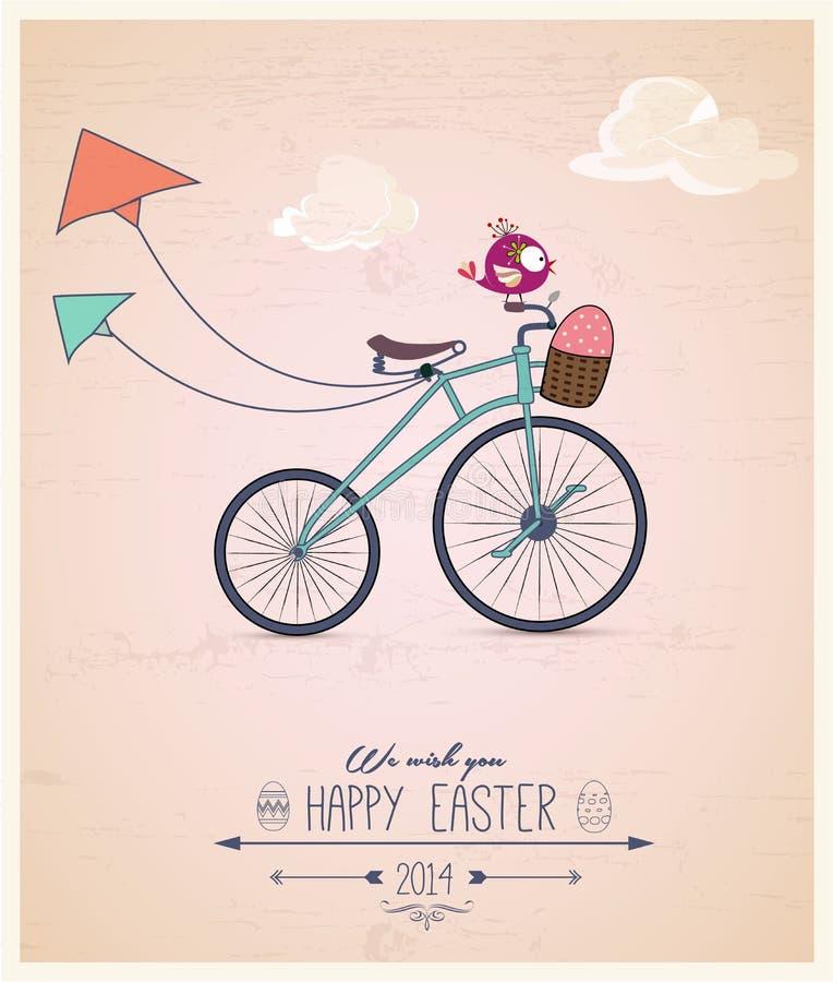 Tarjeta de felicitación de Pascua de la bici del montar a caballo de Birdy stock de ilustración