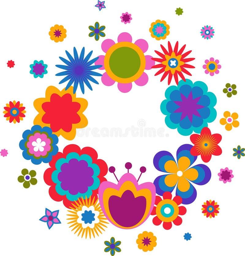 Tarjeta de felicitación de Pascua - guirnalda con los floweres libre illustration