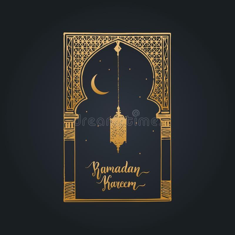 Tarjeta de felicitación de Ramadan Kareem con caligrafía Vector el arco oriental bosquejado mano, la linterna, la Luna Nueva y la ilustración del vector