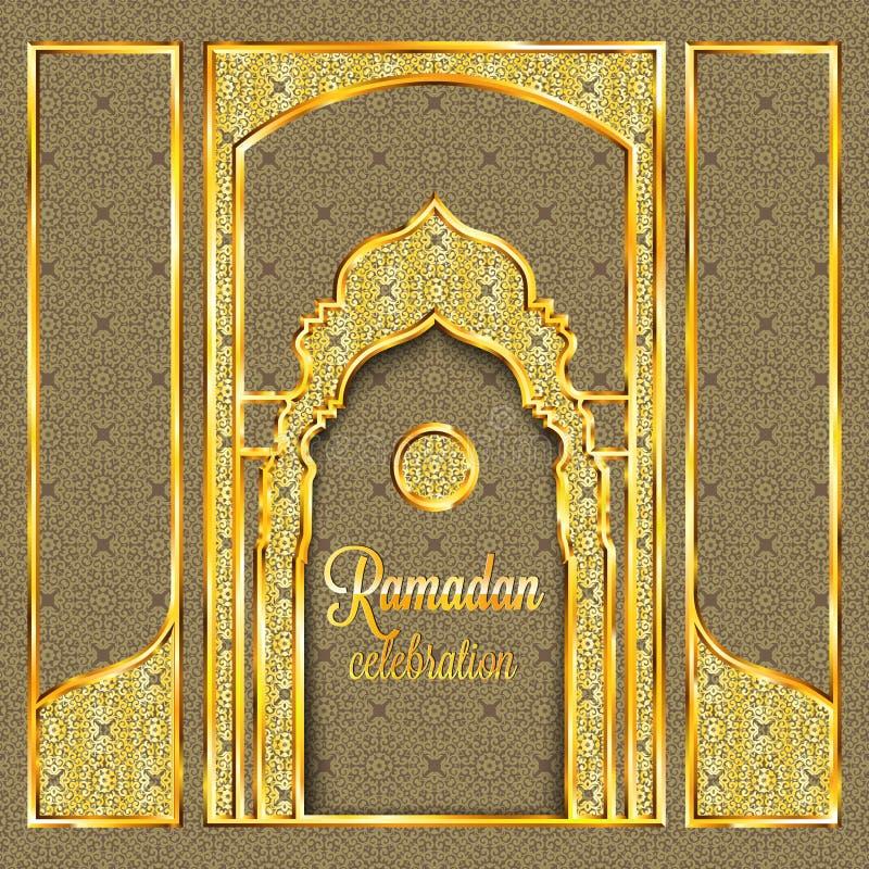 Tarjeta de felicitación de Ramadan Kareem con el modelo, la invitación o el folleto islámica tradicional en estilo del este ilustración del vector