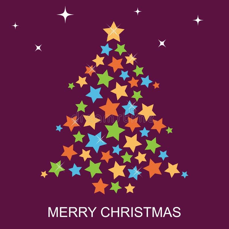 Tarjeta de felicitación del árbol de navidad stock de ilustración