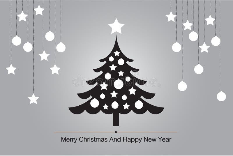 Tarjeta de felicitación del árbol de navidad con el vector de la silueta para el ejemplo del fondo stock de ilustración