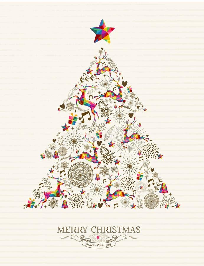 Tarjeta de felicitación del árbol de navidad del vintage ilustración del vector