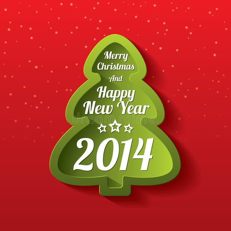 Tarjeta de felicitación del árbol del verde de la Feliz Navidad. 2014. libre illustration