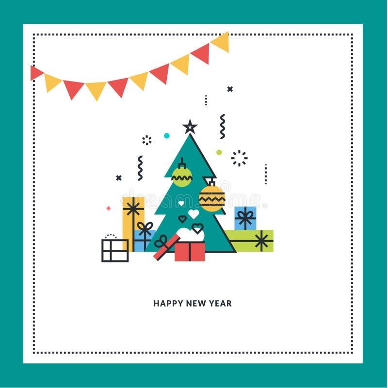 Tarjeta de felicitación del Año Nuevo stock de ilustración