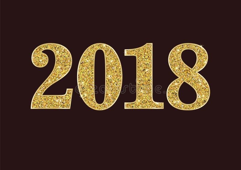 Tarjeta de felicitación del Año Nuevo del brillo 2018 del oro del vector con el sistema de números Ejemplo colorido creativo de l stock de ilustración