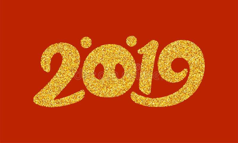 Tarjeta 2019 de felicitación del Año Nuevo con caligrafía libre illustration