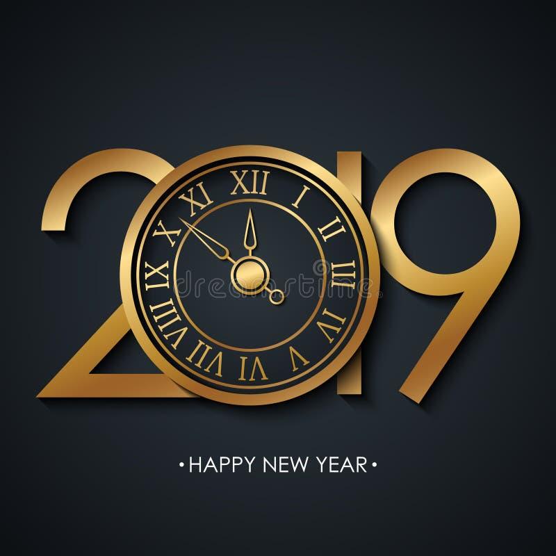 Tarjeta de felicitación del Año Nuevo 2019 con Feliz Año Nuevo de los saludos del día de fiesta y reloj coloreado de oro del Año  stock de ilustración