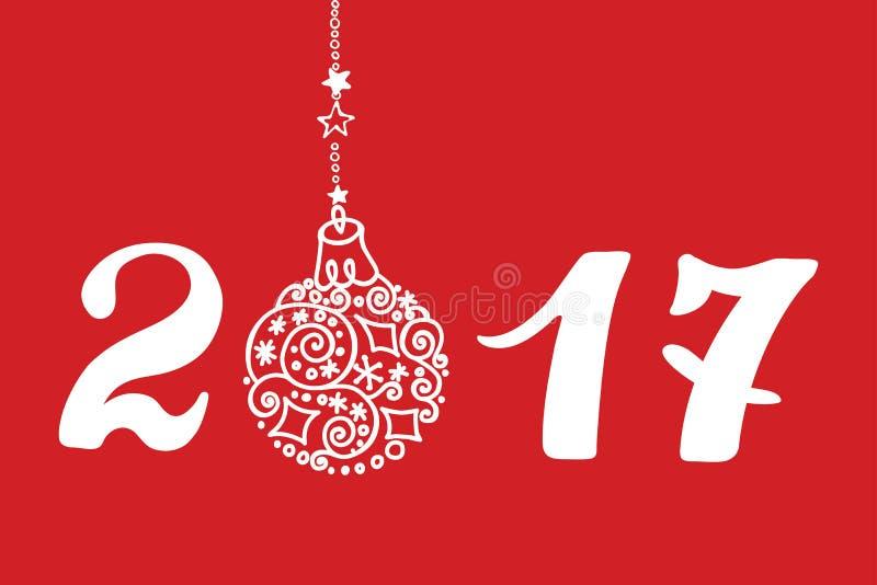 Tarjeta 2017 de felicitación del Año Nuevo con la bola del dibujo de la mano, números ilustración del vector