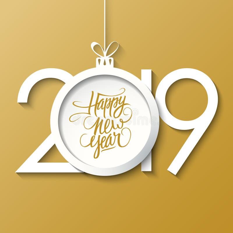 Tarjeta de felicitación del Año Nuevo 2019 con la bola de la Feliz Año Nuevo y de la Navidad de la inscripción manuscrita Letras  stock de ilustración