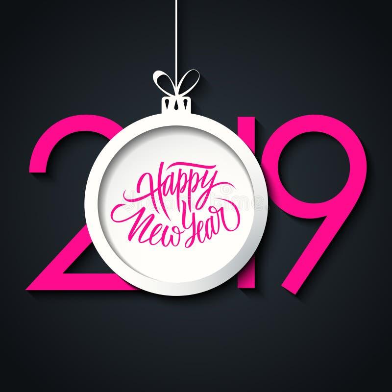 Tarjeta de felicitación del Año Nuevo 2019 con la mano que pone letras a los saludos bola de la Feliz Año Nuevo del día de fiesta libre illustration