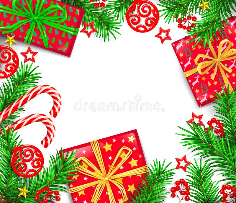 Tarjeta de felicitación del Año Nuevo con las cajas y el fondo en blanco f del día de fiesta stock de ilustración