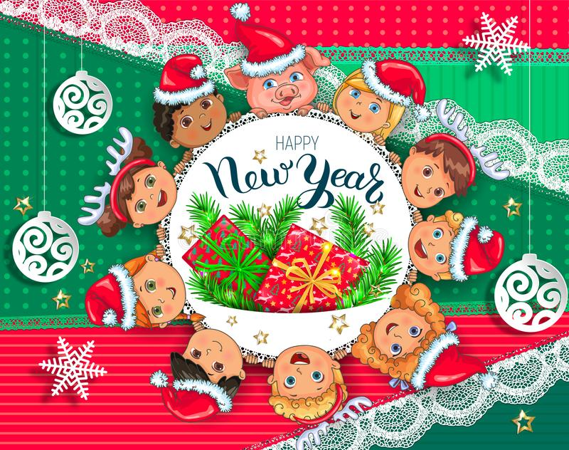 Tarjeta de felicitación del Año Nuevo con los niños ilustración del vector