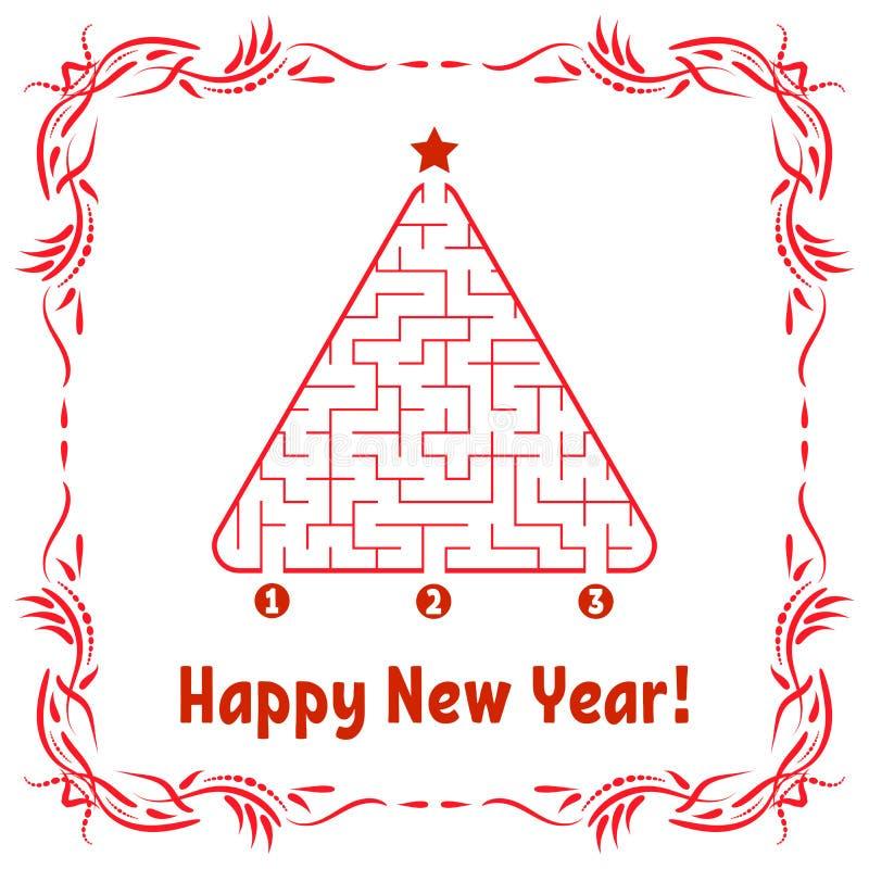 Tarjeta de felicitación del Año Nuevo con un laberinto triangular Encuentre la trayectoria derecha a la estrella Juego para los c libre illustration