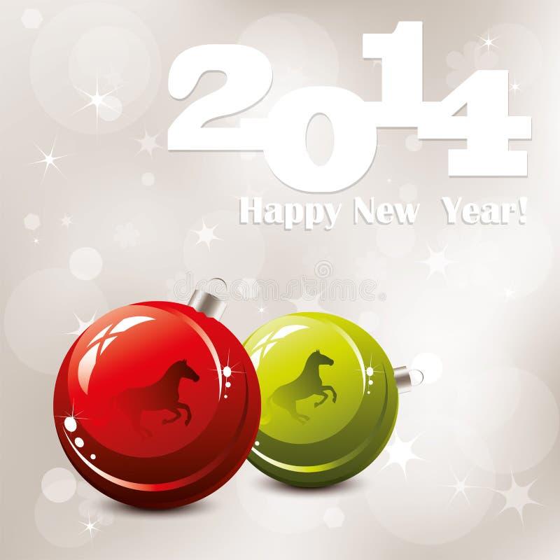 tarjeta de felicitación del Año Nuevo del vector 2014 ilustración del vector