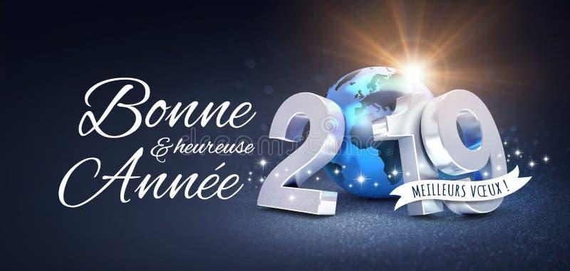 Tarjeta 2019 de felicitación del Año Nuevo en francés stock de ilustración