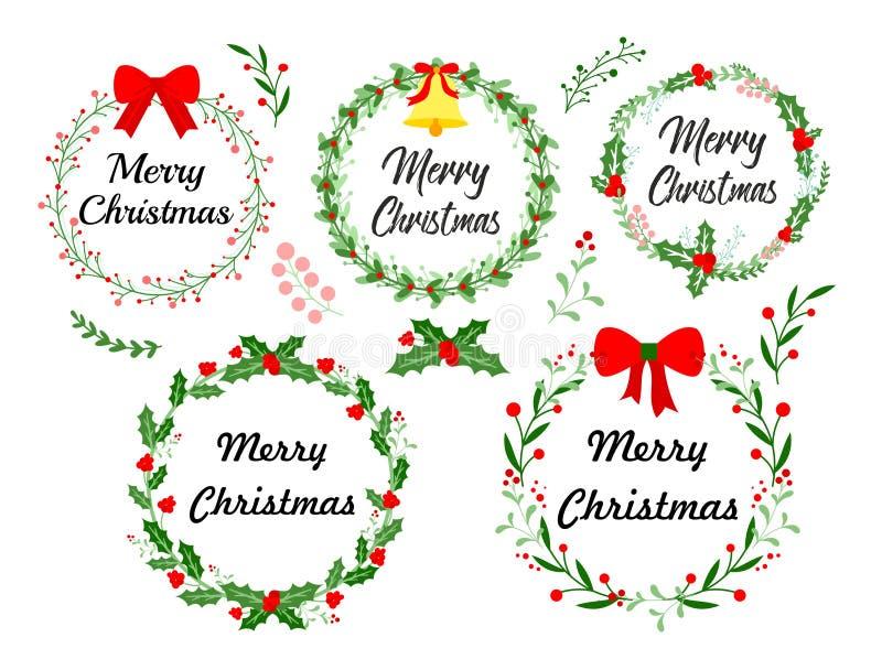 Tarjeta de felicitación del Año Nuevo Guirnalda de la Navidad fijada con los elementos florales del invierno ejemplo del vector e stock de ilustración