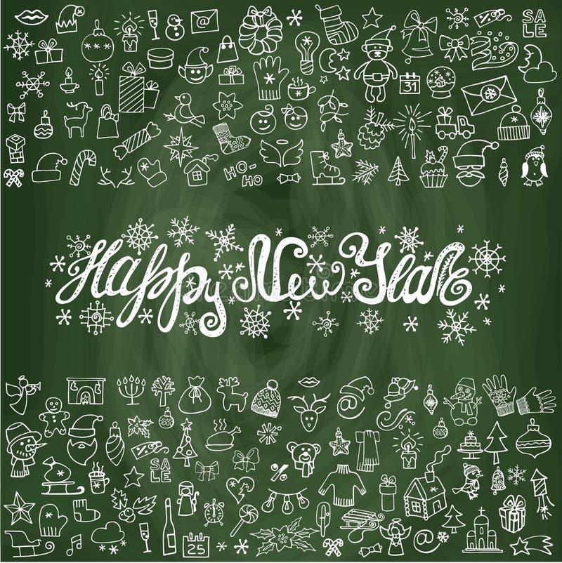 Tarjeta de felicitación del Año Nuevo Iconos lineares, pizarra libre illustration