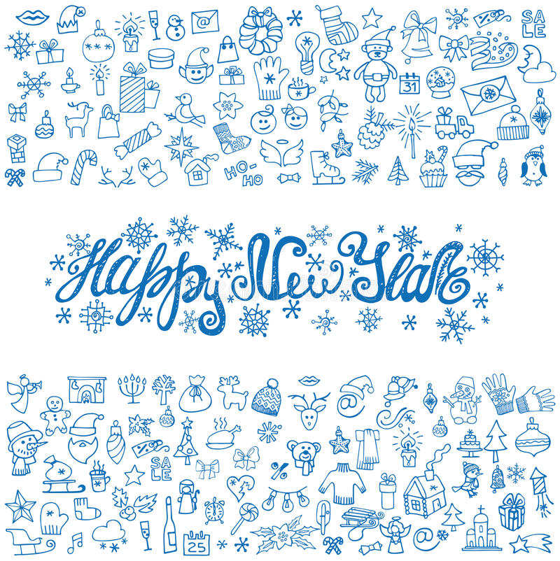 Tarjeta de felicitación del Año Nuevo Iconos lineares, título azul stock de ilustración
