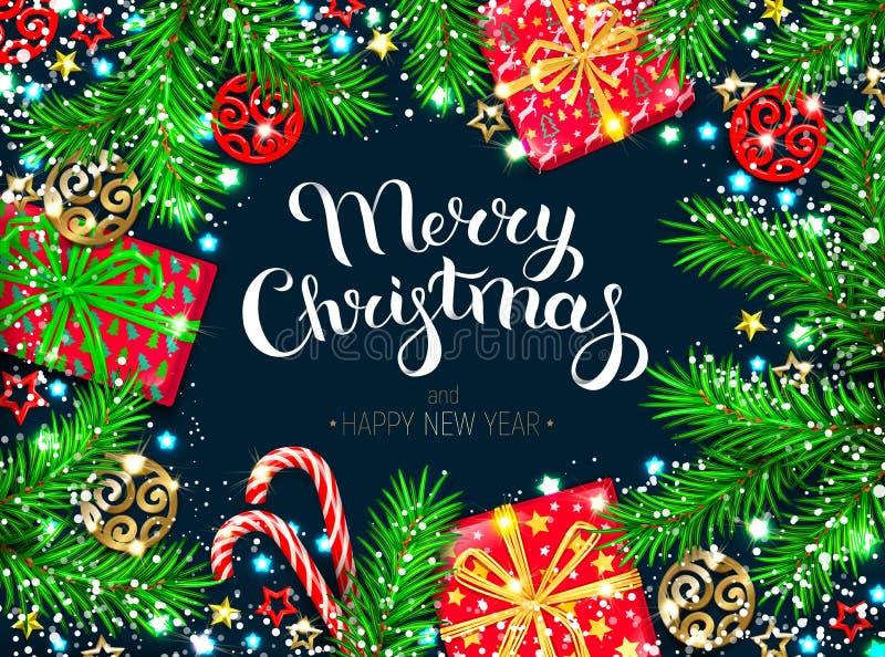 Tarjeta de felicitación del Año Nuevo de la Navidad stock de ilustración