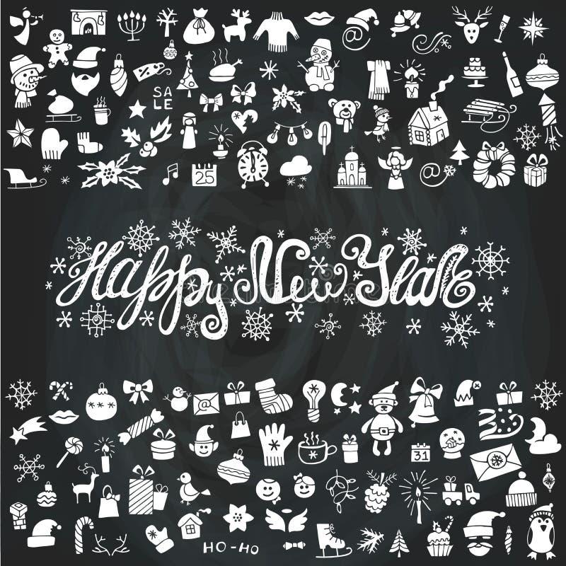 Tarjeta de felicitación del Año Nuevo Los iconos siluetean, pizarra stock de ilustración