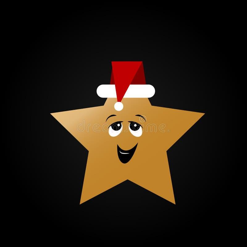 Tarjeta de felicitación del Año Nuevo Tarjeta de Navidad con el emoticon de la sonrisa con el sombrero de Papá Noel libre illustration