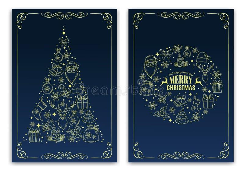 Tarjeta de felicitación del Año Nuevo del nd de la Navidad libre illustration