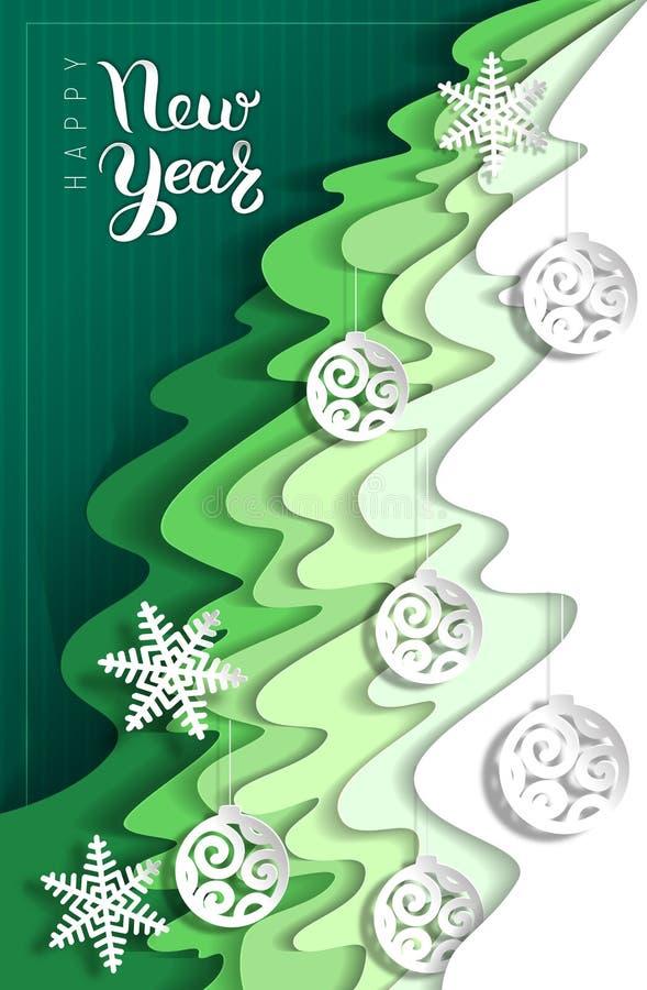 Tarjeta de felicitación del Año Nuevo del papel de las capas stock de ilustración