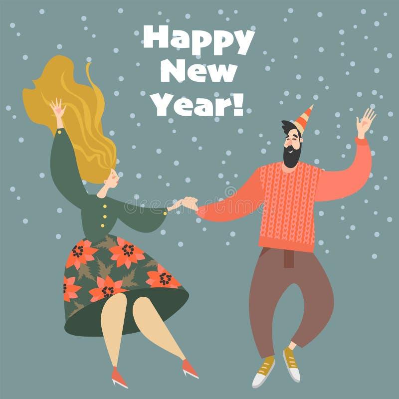 Tarjeta de felicitación del Año Nuevo Pares en un partido que baila el salto lindy La gente feliz celebra venir del Año Nuevo stock de ilustración