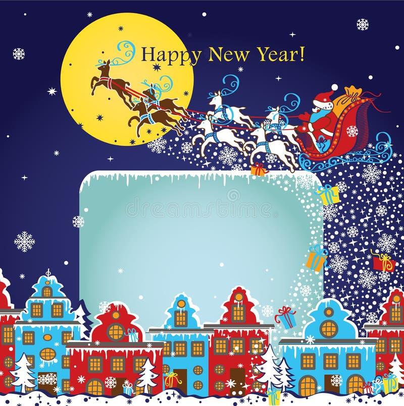 Tarjeta de felicitación del Año Nuevo Santa Claus que viene a la ciudad Vector stock de ilustración