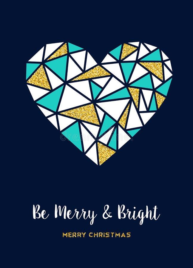 Tarjeta de felicitación del amor del brillo del oro de la Feliz Navidad stock de ilustración