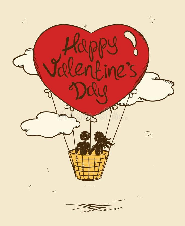 Tarjeta de felicitación del amor con los pares del vuelo en globo del aire caliente stock de ilustración