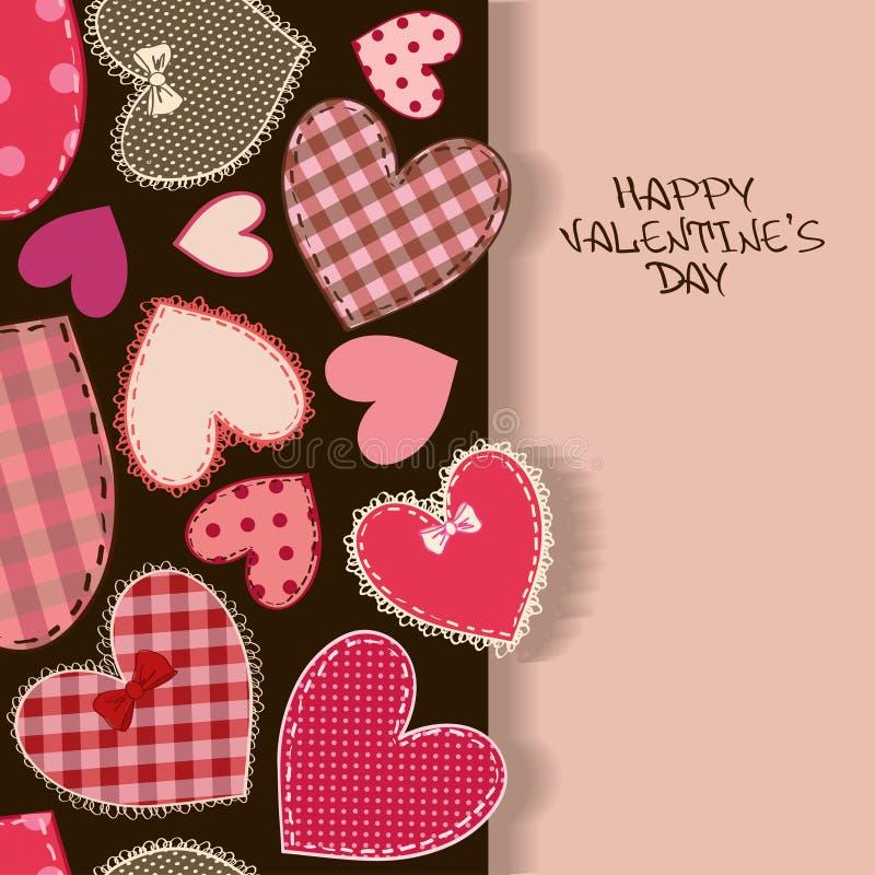 Tarjeta de felicitación del amor con los remiendos del corazón stock de ilustración