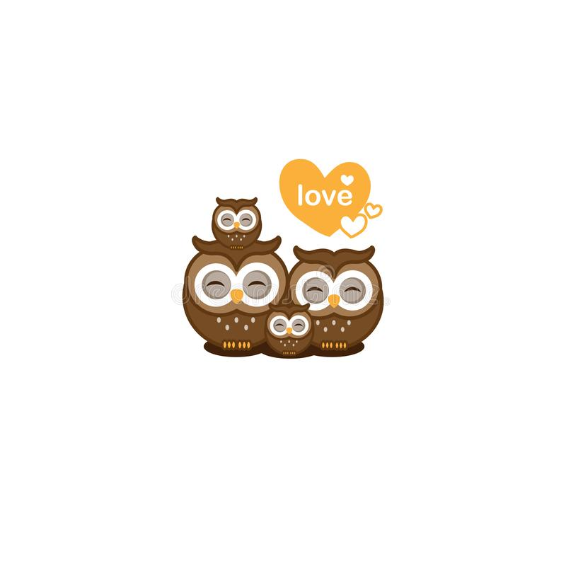 Tarjeta de felicitación del amor de la familia Pares lindos de los búhos con el ejemplo del vector del búho del bebé stock de ilustración