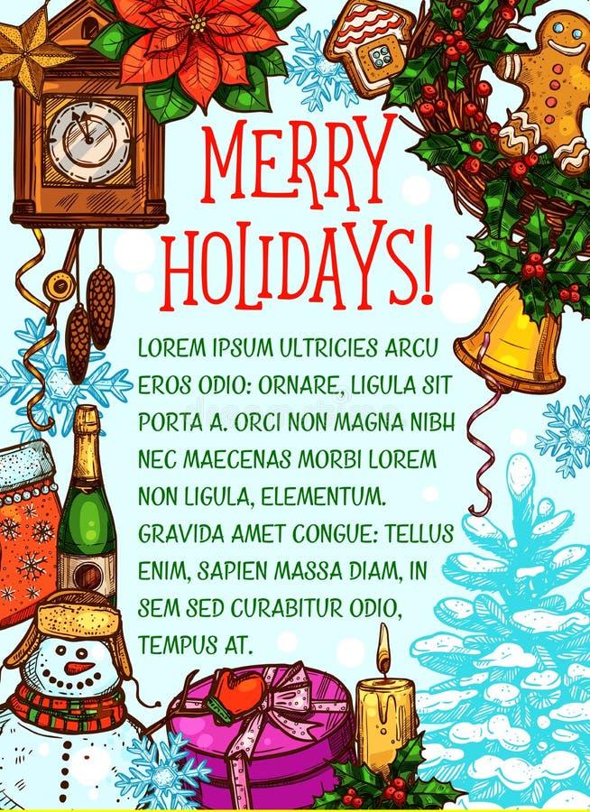 Tarjeta de felicitación del bosquejo del vector de la Feliz Navidad libre illustration