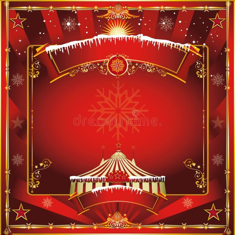 Tarjeta de felicitación del circo de la Navidad stock de ilustración