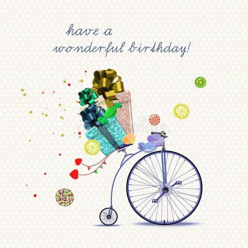 Tarjeta de felicitación del cumpleaños con la bicicleta y los regalos en estilo de la historieta en fondo ligero Ilustración del  stock de ilustración
