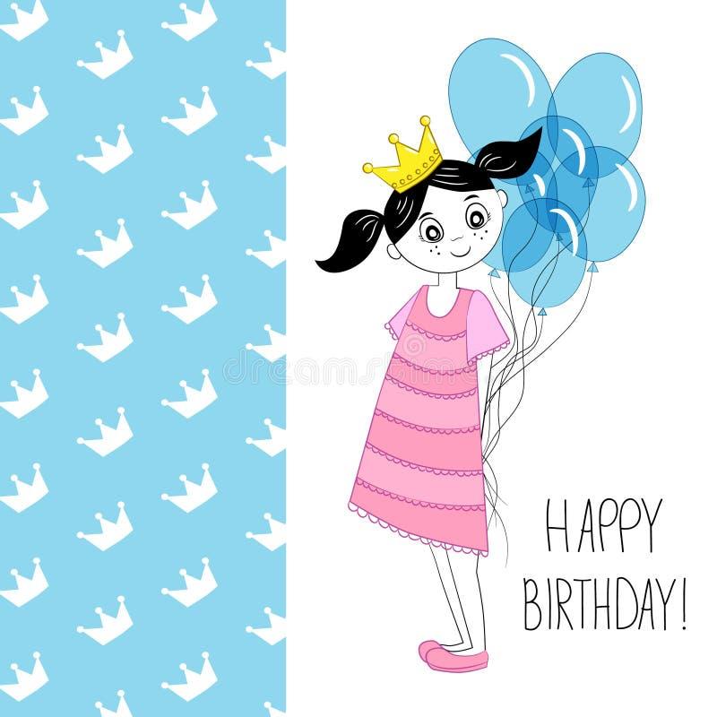Tarjeta de felicitación del cumpleaños con la niña libre illustration
