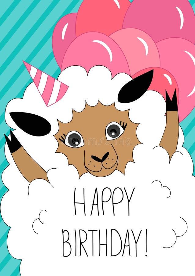 Tarjeta de felicitación del cumpleaños con las ovejas lindas stock de ilustración