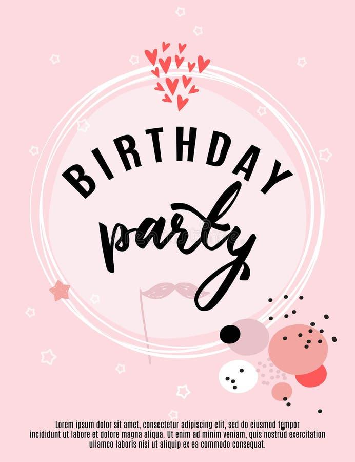 Tarjeta de felicitación del cumpleaños y plantilla de la invitación del partido, ejemplo del vector, estilo dibujado mano ilustración del vector