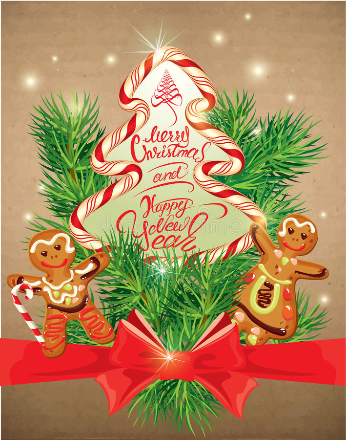 Tarjeta de felicitación del día de fiesta con el hombre de pan de jengibre de Navidad y el carro de la mujer ilustración del vector