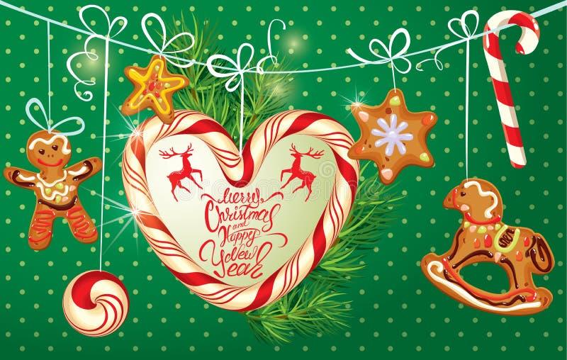 Tarjeta de felicitación del día de fiesta con el pan de jengibre de Navidad stock de ilustración