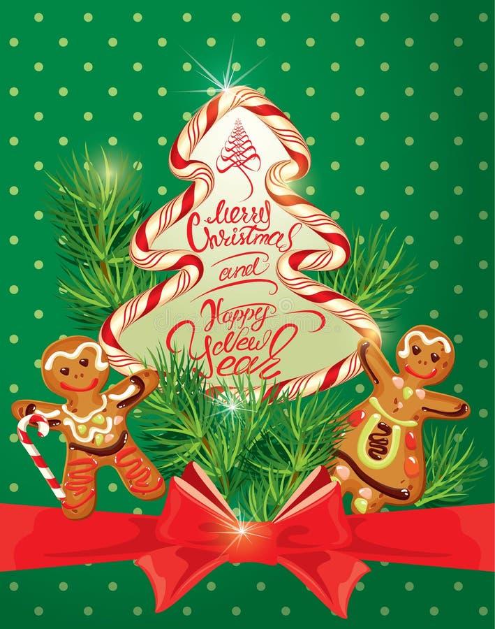 Tarjeta de felicitación del día de fiesta con el pan de jengibre de Navidad libre illustration