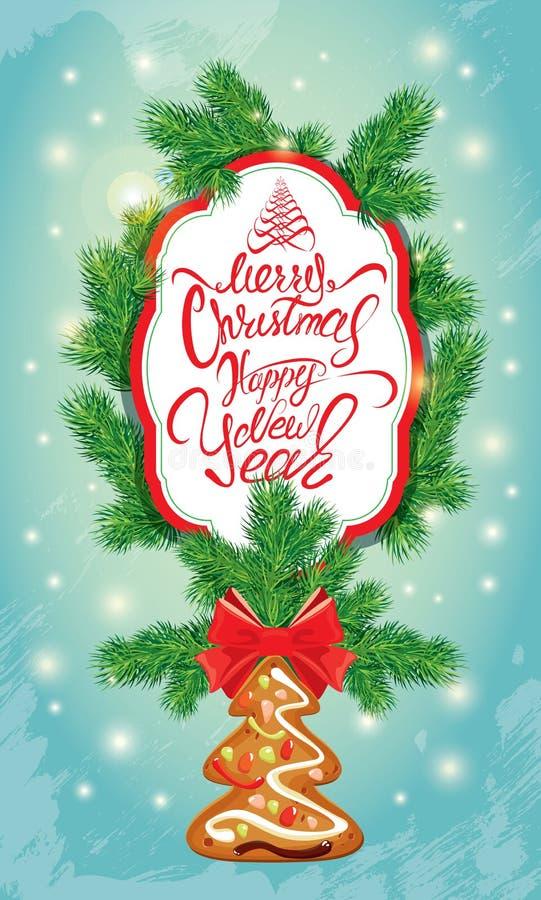 Tarjeta de felicitación del día de fiesta con el pan de jengibre, el marco y el abeto de Navidad libre illustration