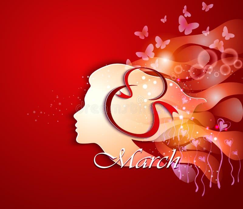 Tarjeta de felicitación del día de las mujeres stock de ilustración