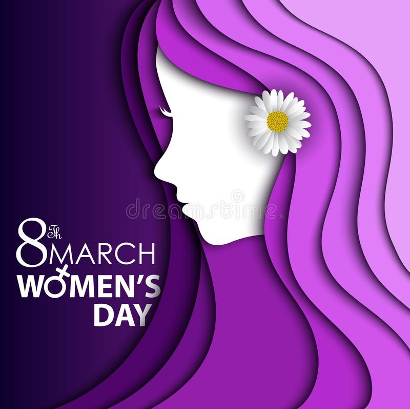 Tarjeta de felicitación del día de las mujeres con la flor en oído en fondo púrpura con diseño de una cara y de un texto de las m imagenes de archivo