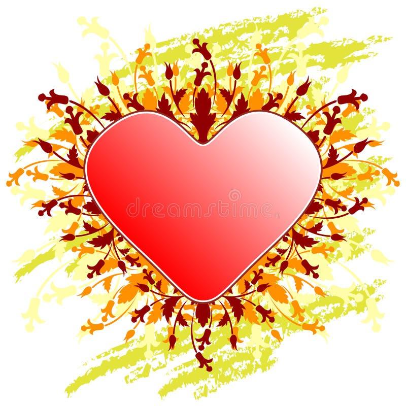 Tarjeta de felicitación del día de tarjeta del día de San Valentín con el corazón de las flores en backg del grunge foto de archivo