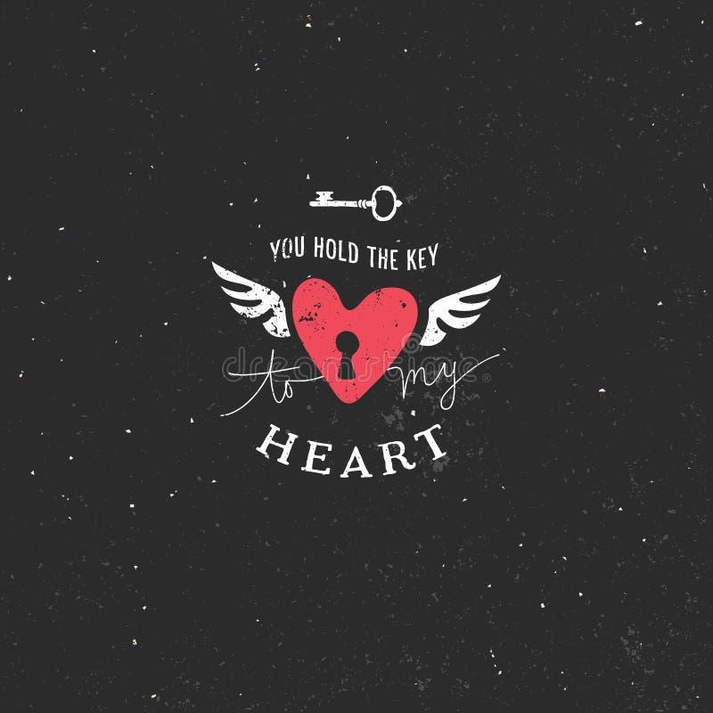 Tarjeta de felicitación del día de tarjeta del día de San Valentín con el corazón y las letras stock de ilustración